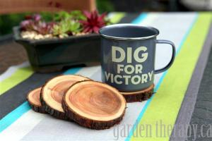 Enamel-Dig-for-Victory-Mug-and-Natural-Branch-Coasters-Project-via-Garden-Therapy-coasters-recycle